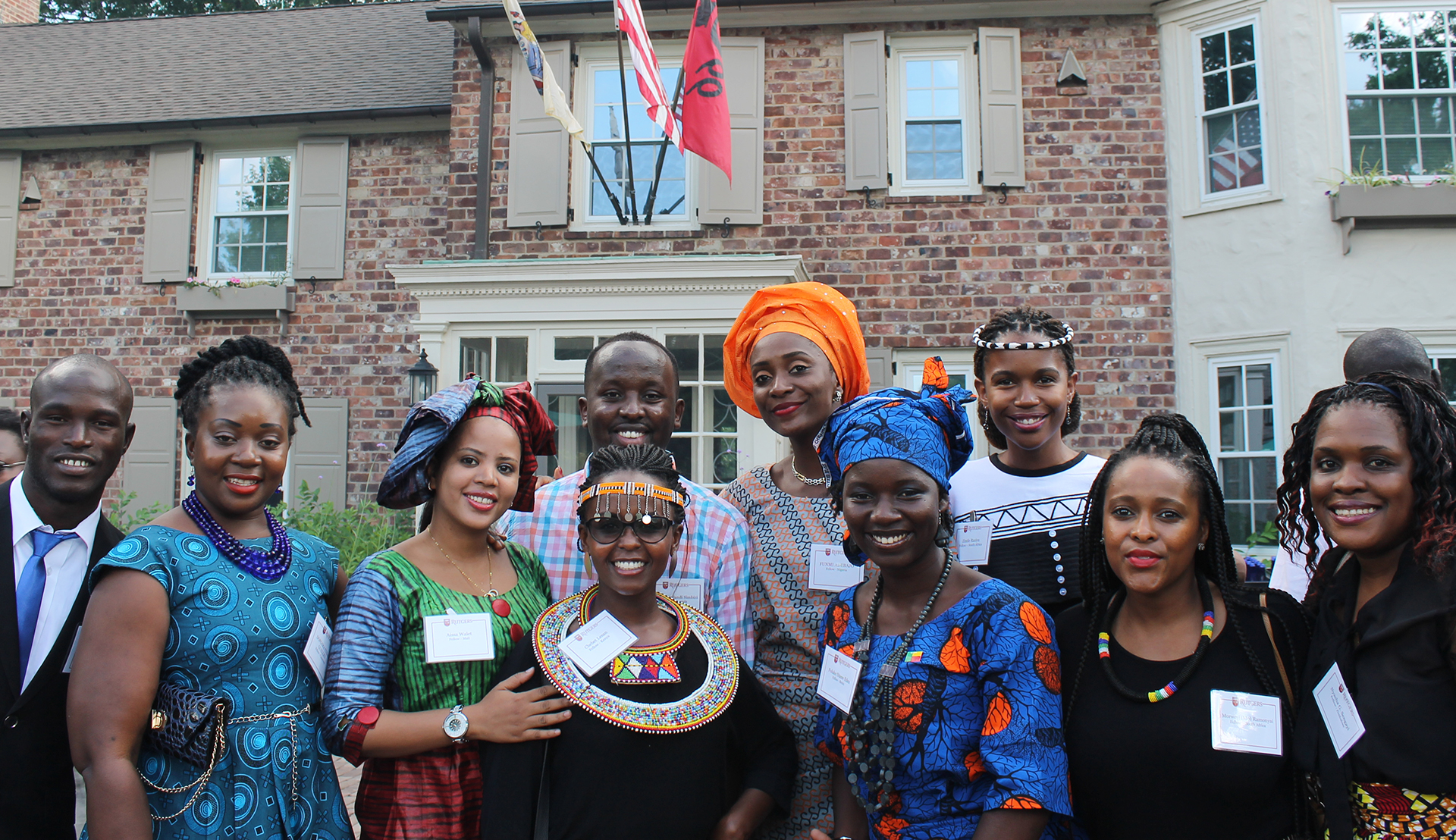 Rutgers Global - Mandela Washington Fellowship, group of fellows posing for photo outdoors at Rutgers