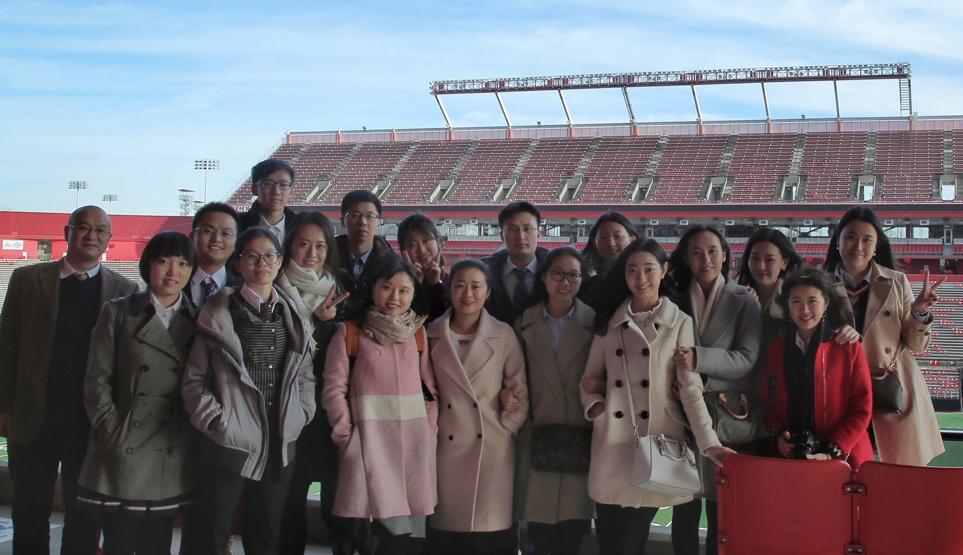 Rutgers Global - Rutgers-Jilin Research Forum, group shot of Jilin students (China) at High Points Solution Stadium