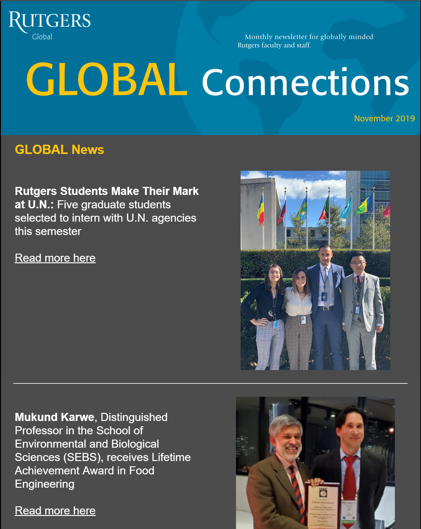 Rutgers Global Connections Newsletter November 2019