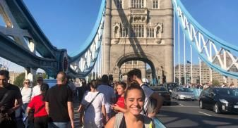 Cathleen at Tower Bridge