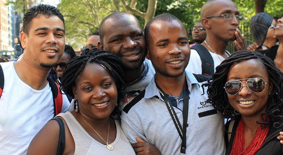 Rutgers Global - Mandela Washington Fellowship, a group of fellows poses for a photo on a New York City street