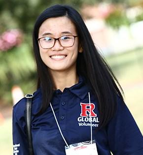 Rutgers Global – Getting Started, student volunteer poses at the 2016 International Student Orientation