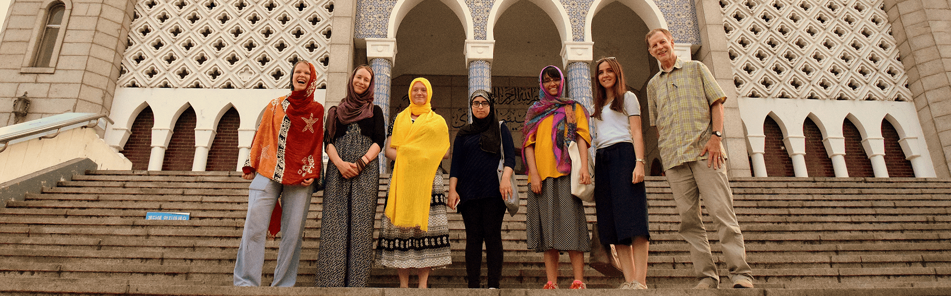 Ifrah Akhtar and classmates at Seoul Mosque in South Korea