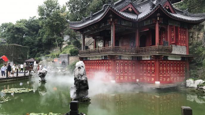 Steamy walk along water