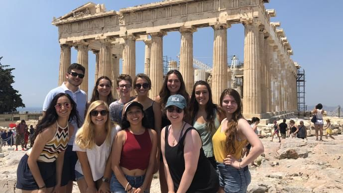 students in the Parthenon