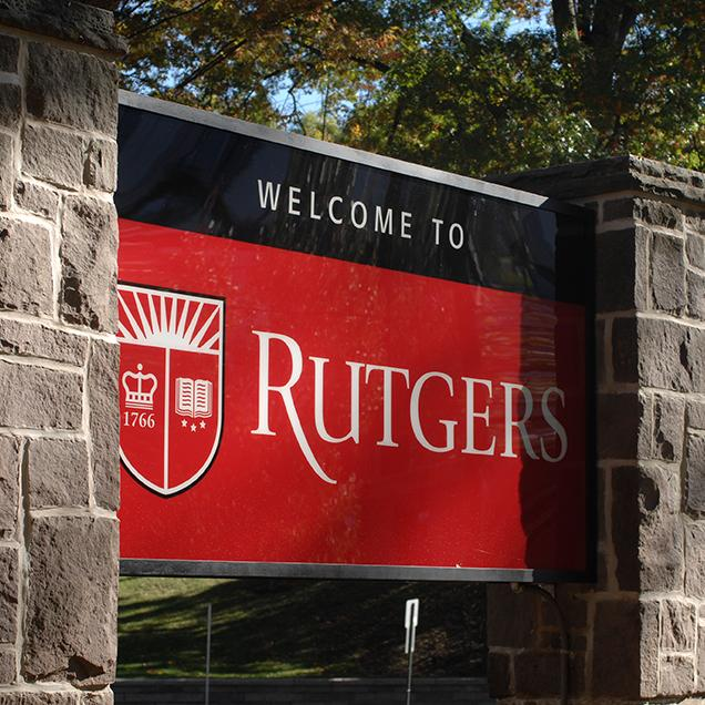 Rutgers Global - Student Information Hub, sign of Rutgers, The State University of New Jersey on the New Brunswick campus
