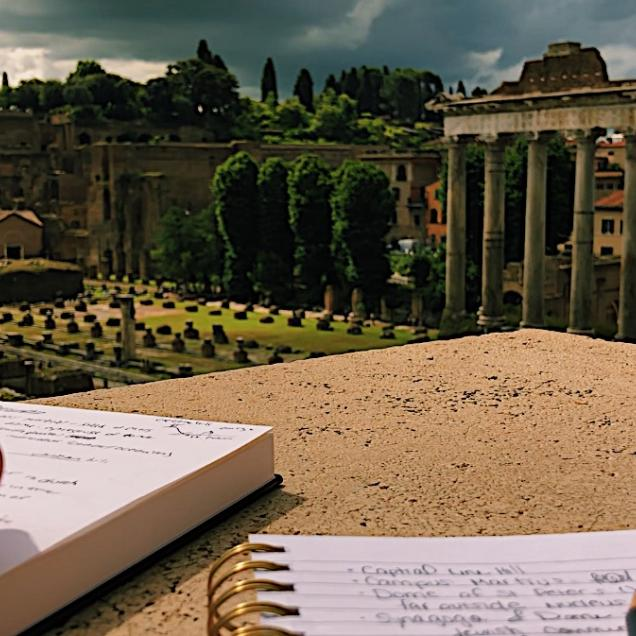 Taking notes in Italy