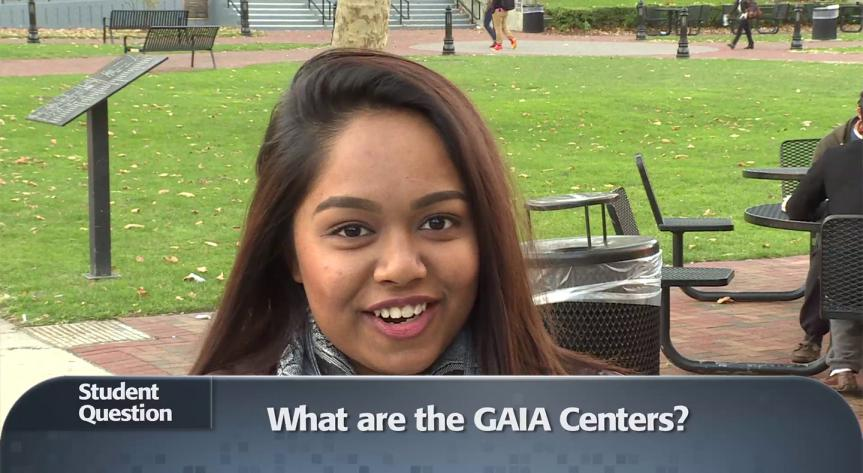 Rutgers Global – What are the GAIA Centers? video, screenshot of student in video with subtitled text, what are the GAIA Centers in gray box on bottom