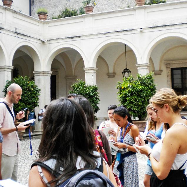 Rutgers Global – Study Abroad Programs, students taking classes outside in Rome