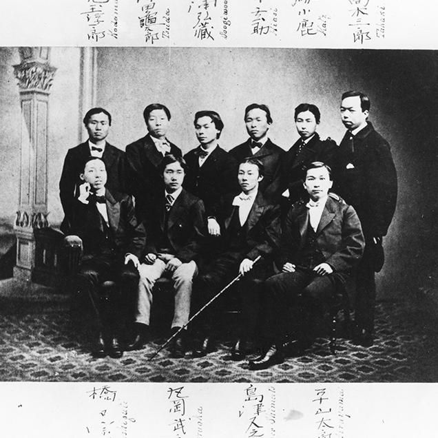 Rutgers Global – Rutgers Around the World Episode 5, Rutgers and Asia, black and white photo of nine Rutgers students from 1800s