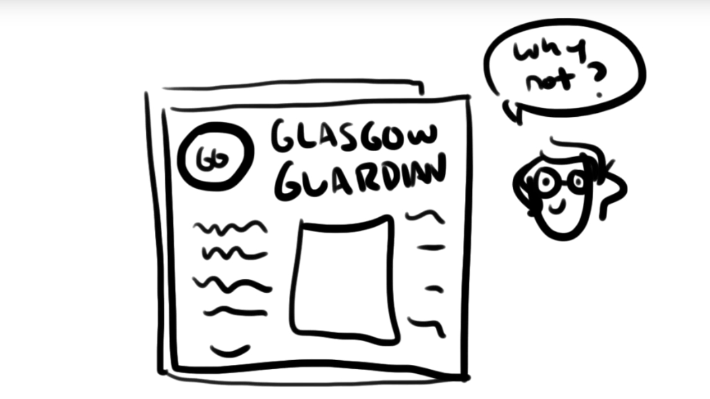 Rutgers Global - Study Abroad Animated Testimonial, screen shot of stick figure head next to drawing of Glasgow newspaper